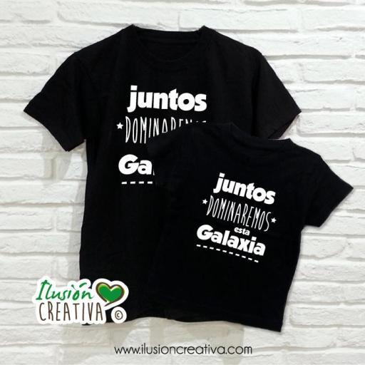 DUO de camisetas JUNTOS DOMINAREMOS ESTA GALAXIA