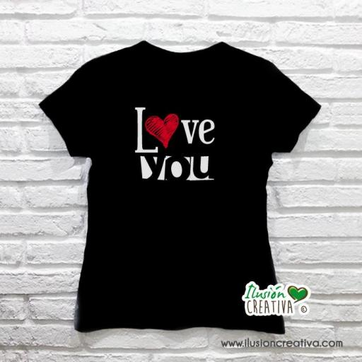 Camiseta I LOVE YOU - mujer