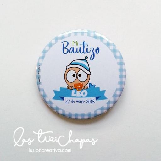 Chapas PERSONALIZADAS para Bautizo -  Bebé Chiquinete - Niño