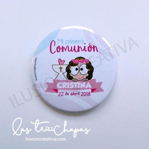 Chapas PERSONALIZADAS para Primera Comunión - Chiquinete dulce - Niña