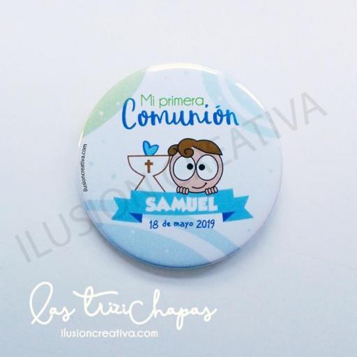 Chapas PERSONALIZADAS para Primera Comunión - Chiquinete dulce - Niño