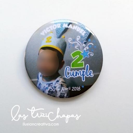 Chapas PERSONALIZADAS para Cumpleaños - con foto - Niño