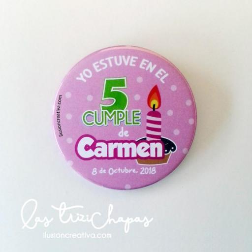Chapas PERSONALIZADAS para Cumpleaños - Yo estuve en el cumple de... Modelo pastel - Niña