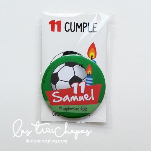 Chapas PERSONALIZADAS para Cumpleaños - Modelo Fútbol