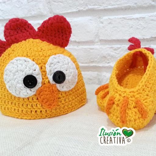 Conjunto crochet.- Gallito kiriki