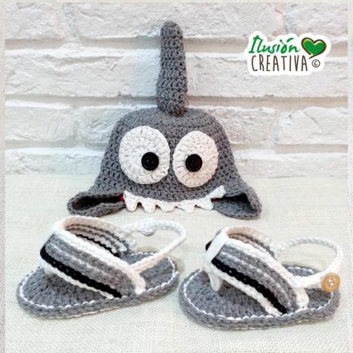 Conjunto crochet.- Tiburón playero