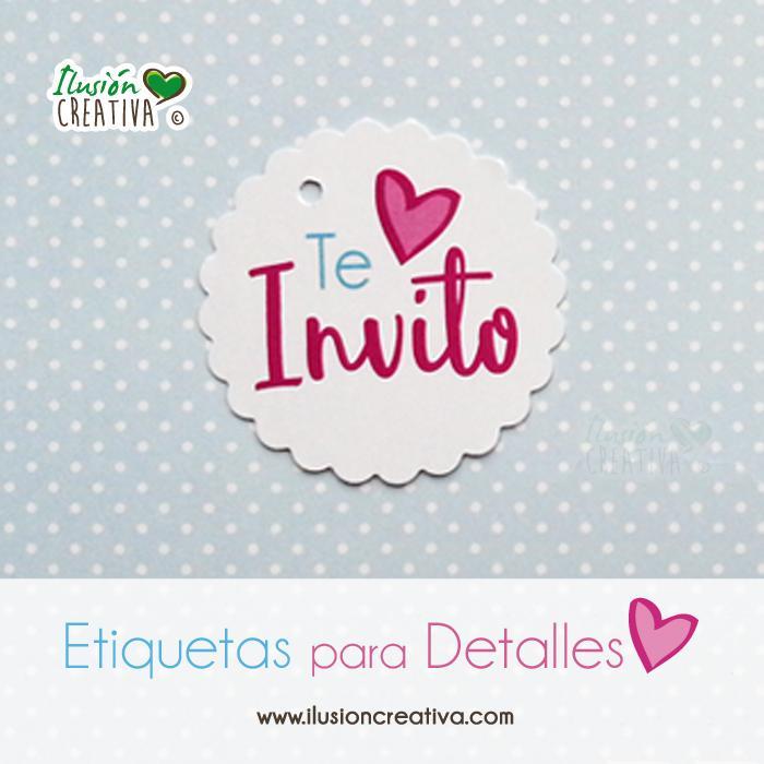 Etiquetas para detalles de Comunión - Niña - Te invito - Modelo 01