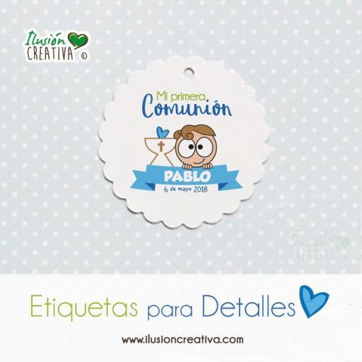 Etiqueta para detalles de Comunión - Niño - Modelo 01