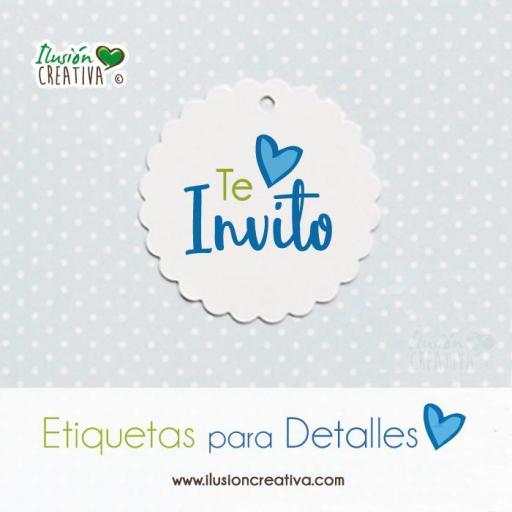 Etiquetas para detalles de Comunión - Niño - Te invito - Modelo 01