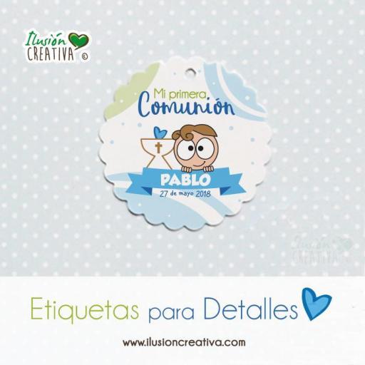 Etiquetas para detalles de Comunión - Niño - Modelo 02
