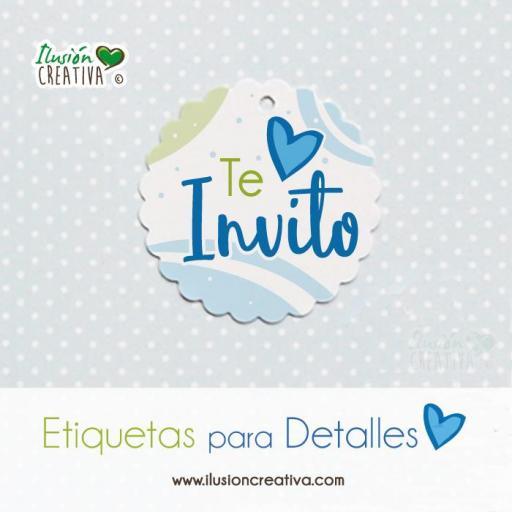 Etiquetas para detalles de Comunión - Niño - Te invito - Modelo 02