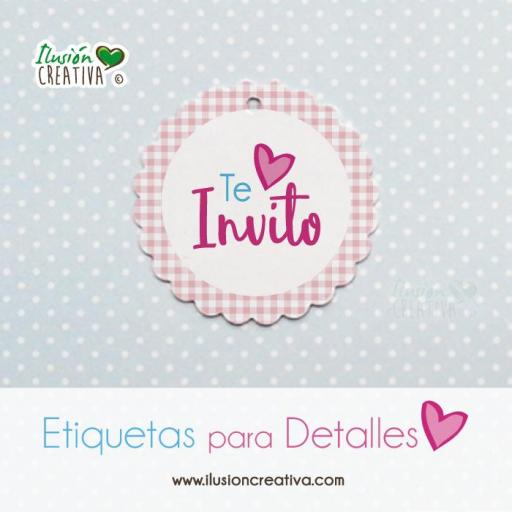 Etiquetas para detalles de Comunión - Niña - Te invito - Modelo 03