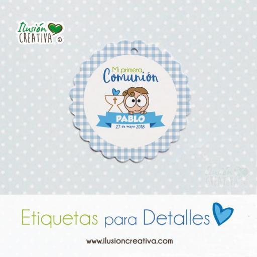 Etiquetas para detalles de Comunión - Niño - Modelo 03