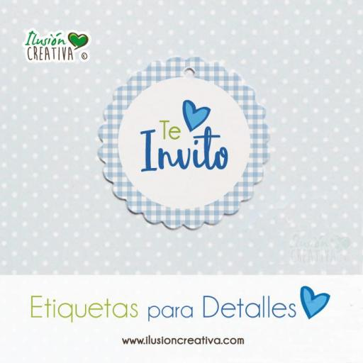 Etiquetas para detalles de Comunión - Niño - Te invito - Modelo 03