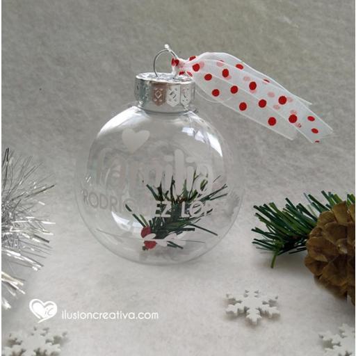 Bolas de Navidad TRANSPARENTES, Personalizadas - Blanca