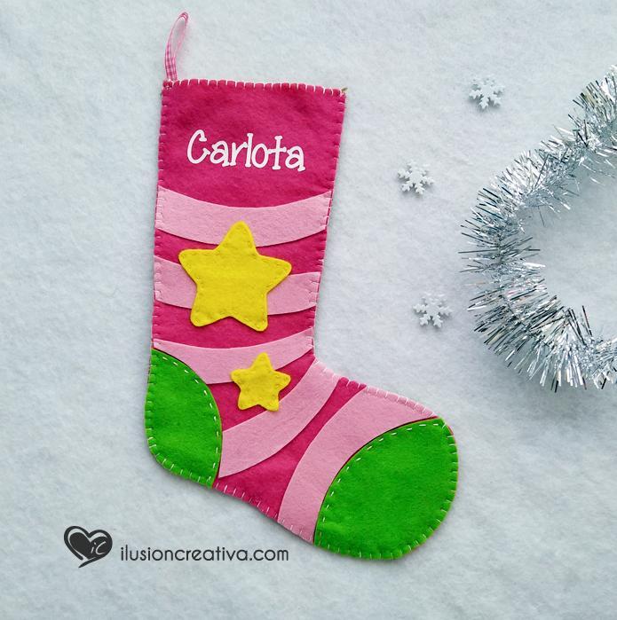 Calcetín decorativo Estrellas - Rosa