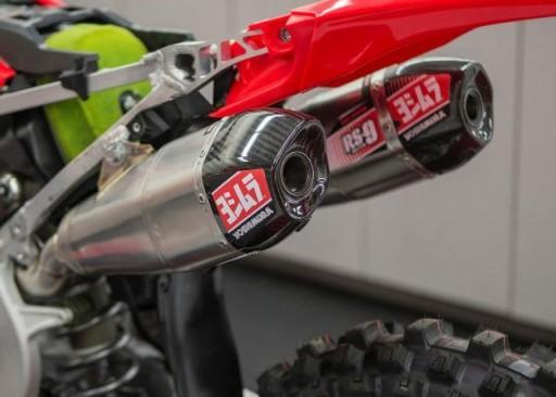 Linea completa escape doble Yoshimura Signature RS-9, titanio, y tapa carbono, Honda CRF250R