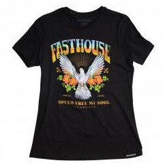 FASTHOUSE WOMEN T-SHIRT DOVE BLACK MINERAL WASH