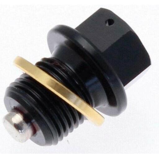 Tapón de vaciado de aceite TECNIUM magnético alu negro M10 x 1,50 x 14