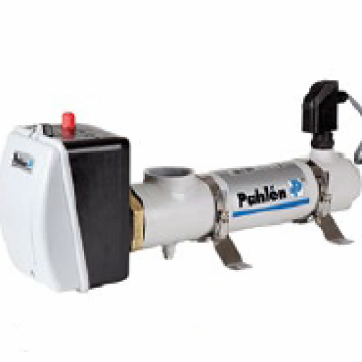 Intercambiador eléctrico tubular Pahlén en Titanio con potencia 6 KW en trifásico.