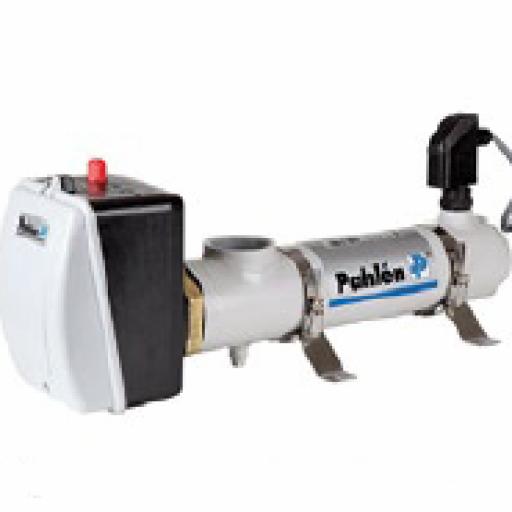 Intercambiador eléctrico tubular Pahlén en Titanio con potencia 15 KW en trifásico.