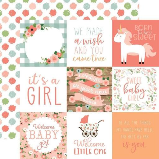 PAPEL 4 X 4 JOURNALING CARDS BABY GIRL ECHO PARK