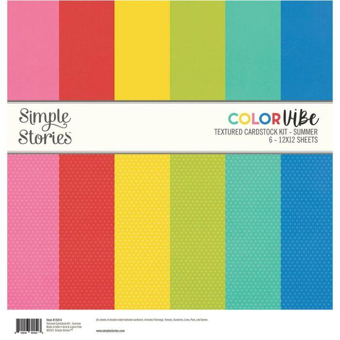 KIT CARDSTOCK DOTS TEXTURED SUMMER SNAP COLOR VIBE BASICS SIMPLE STORIES