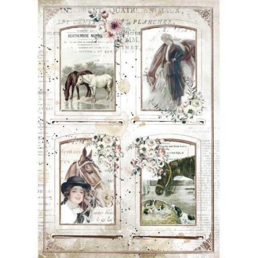 PAPEL DE ARROZ HORSES 4 FRAMES STAMPERIA