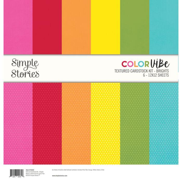 KIT CARDSTOCK DOTS TEXTURED #02 SNAP COLOR VIBE BASICS SIMPLE STORIES