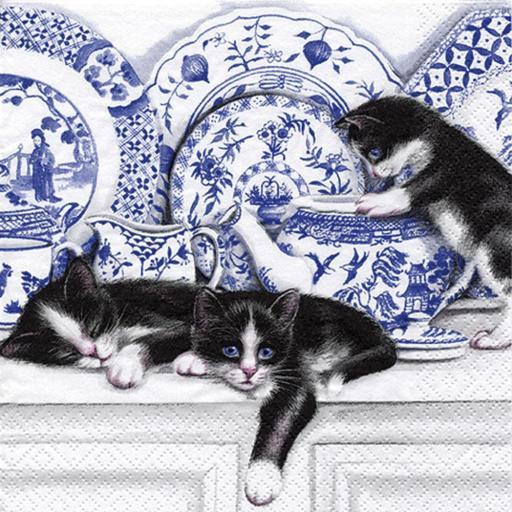 SERVILLETA BLACK CATS WITH CHINA TI FLAIR