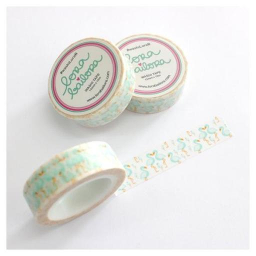 WASHI TAPE FLAMENCOS MINT LORA BAILORA