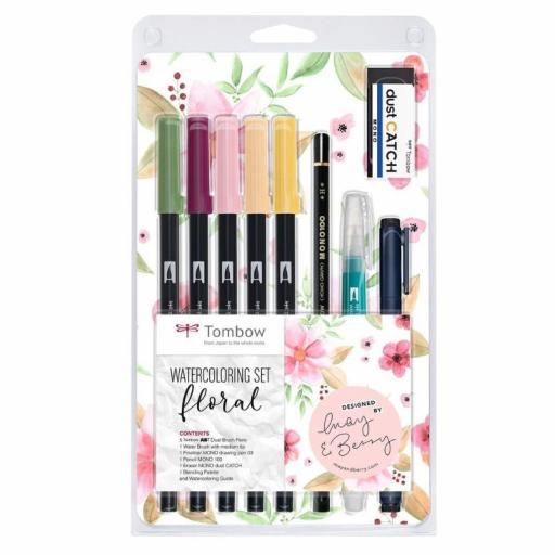 SET FLORAL WATERCOLORING TOMBOW