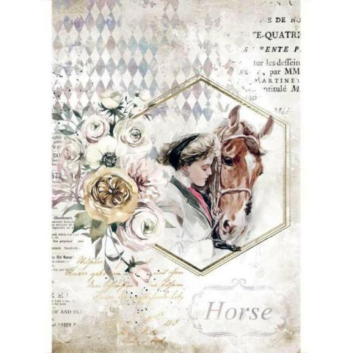 PAPEL DE ARROZ HORSES LADY FRAME STAMPERIA
