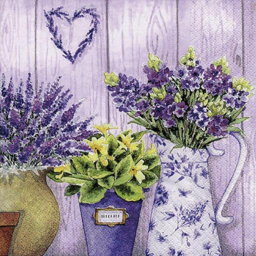 SERVILLETA LILAC FLOWERS WITH HEART TI FLAIR