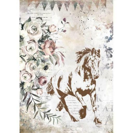 PAPEL DE ARROZ HORSES RUNNING HORSE STAMPERIA