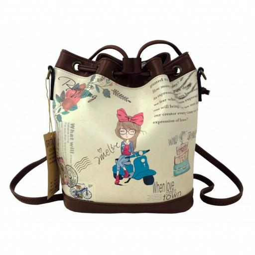 BOLSO BOMBONERA AMELIE WORLD TRAVEL