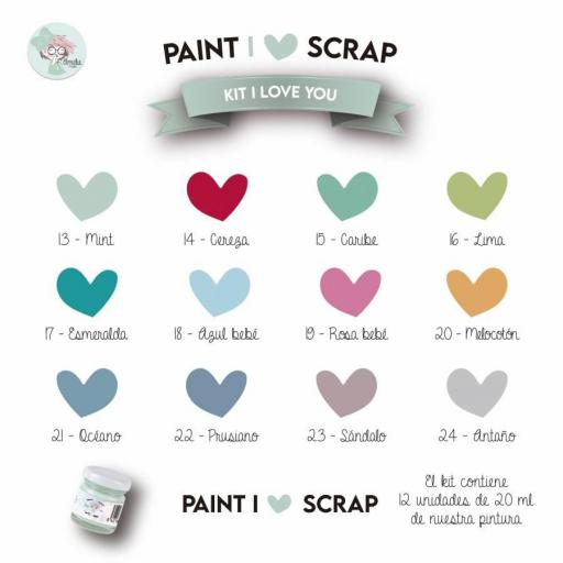 KIT I LOVE YOU - I LOVE SCRAP 12 COLORES DE 20 ML CHALK PAINT AMELIE