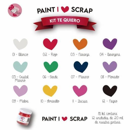 KIT TE QUIERO - I LOVE SCRAP 12 COLORES DE 20 ML CHALK PAINT AMELIE