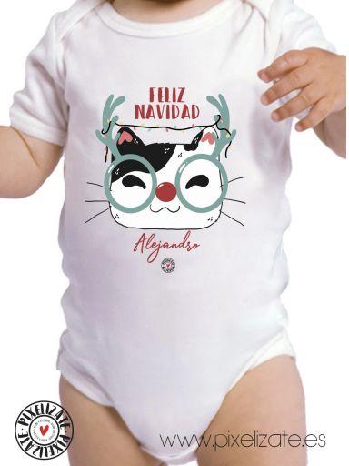 Body Bebé Gatito Navidad Personalizado [2]