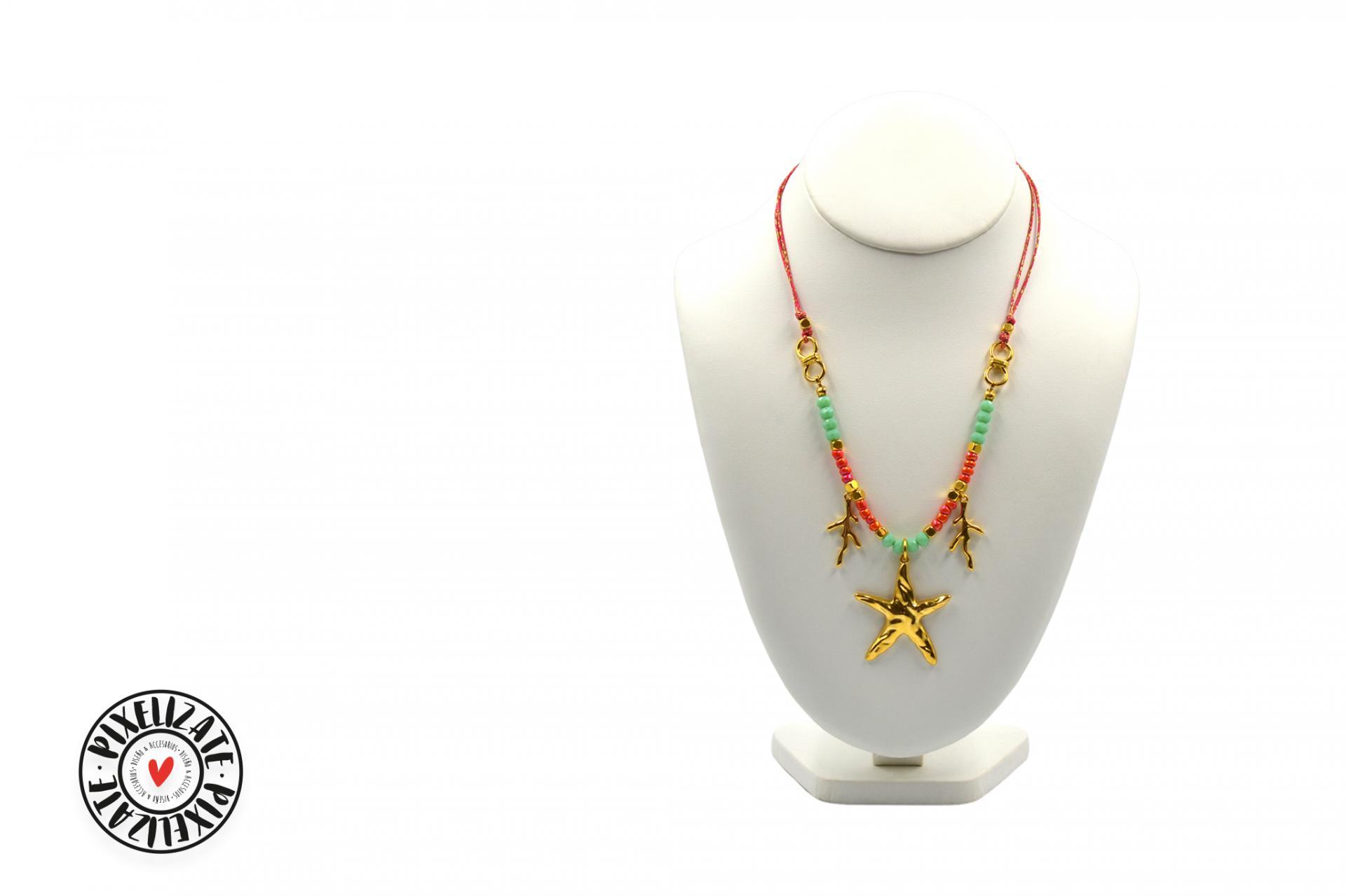 Collar Estrella Dorado Coral
