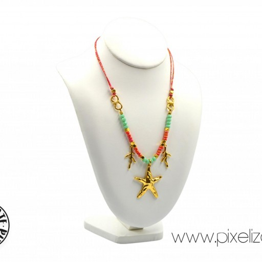 Collar Estrella Dorado Coral [1]