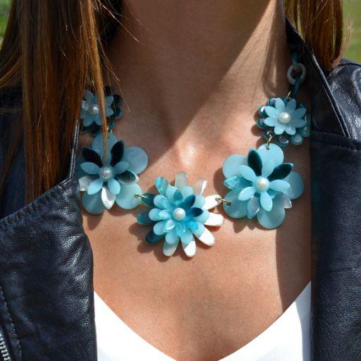 Collar Flower Power Azul [1]