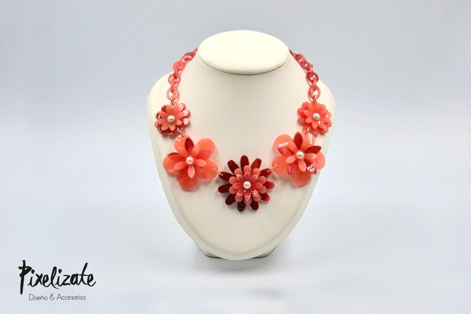 Collar Flower Power Rojo