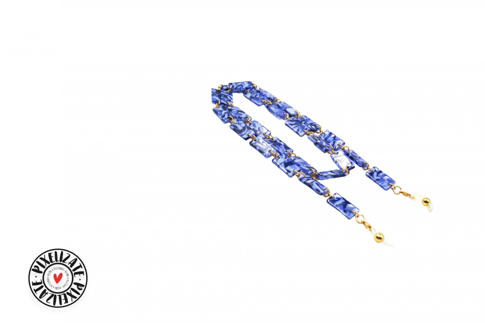 Cadena Cuelgagafas Marmol Azul
