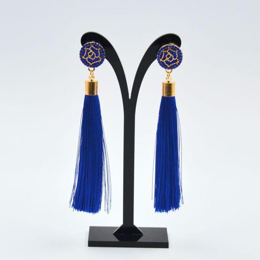 Pendientes Borla Flor Azul