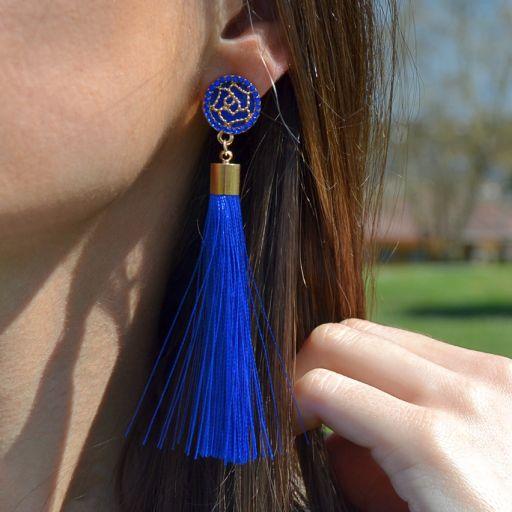 Pendientes Borla Flor Azul [2]