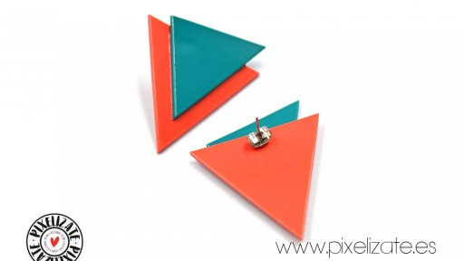 Pendientes Geometric Turquesa/Salmón [2]