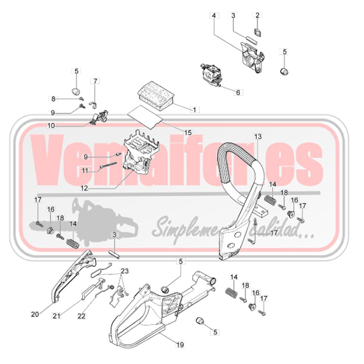 """Recambios Oleo Mac GS 350 / 35 / 350 C """"Empuñadura y filtro de aire""""."""