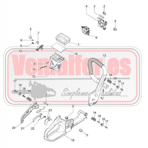 """Recambios Oleo Mac GS 350 / 35 / 350 C """"Empuñadura y filtro de aire"""". [0]"""
