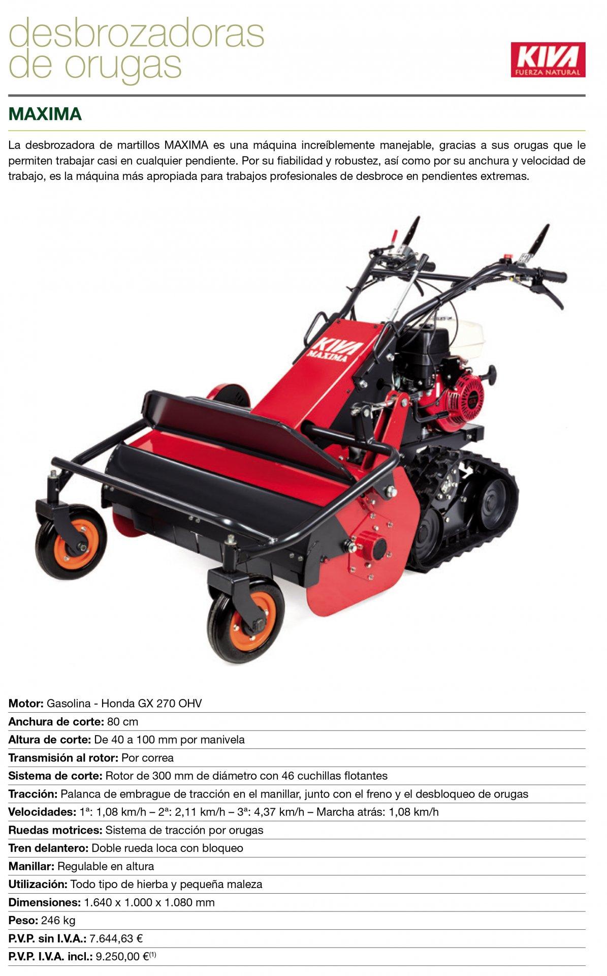 Desbrozadora de ruedas con martillos KIVA Maxima motor HONDA